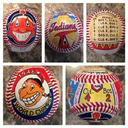 Cleveland Indians Hand Painted Baseball