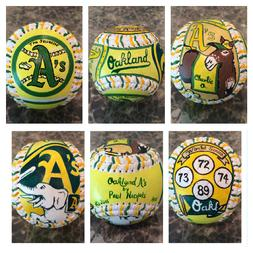Oakland A's Hand Painted Baseball