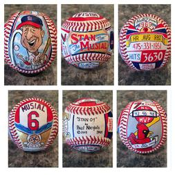 St Louis Cardinals Stan Musial Hand Painted Baseball