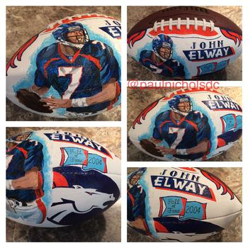 Hand Painted Football, John Elway, Denver Broncos, Quarterback, Hall of Fame