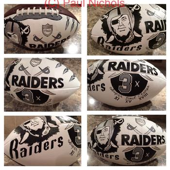 Oakland Raiders hand painted football